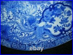 Superb Early Antique Phoenix Bird Design Blue White Chinese Charger 15