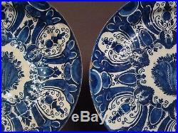 Superb Pair of Large Dutch Delft Antique blue white Plates Chargers 18th. C