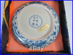 TOP! Chinese Blue White Phenix Porcelain Plate with Chenghua Mark in Box