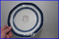 TWO Chinese Armorial AMERICAN Plates Qianlong QING vase teapot blue white EIC