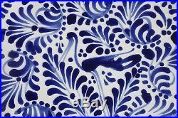 Talavera Pottery, signed V. Perez scalloped plate, bowl, Blue & White, CRANE