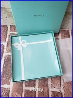 Tiffany Square Plate Blue White Tableware Ribbon Bone China Gift /Box Authetic