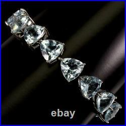 Trilliant Sky Blue Topaz 9mm White Gold Plate 925 Sterling Silver Bracelet 7.5in