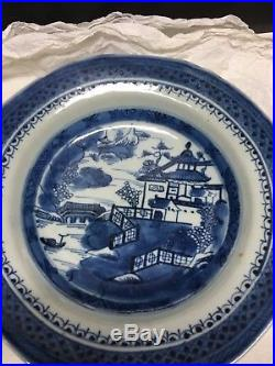 Two 18th Century Antique Chinese Export Canton Blue & White Plate