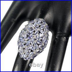 Unheated Marquise Tanzanite 5x2.5mm White Gold Plate 925 Sterling Silver Ring 8