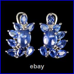 Unheated Oval Blue Kyanite 10x8mm White Gold Plate 925 Sterling Silver Earrings