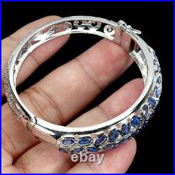 Unheated Oval Blue Kyanite 5x3mm 14K White Gold Plate 925 Sterling Silver Bangle