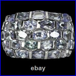 Unheated Oval Blue Tanzanite 14K White Gold Plate 925 Sterling Silver Ring 8