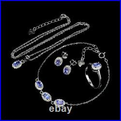 Unheated Oval Blue Tanzanite 5x3mm Cz White Gold Plate 925 Sterling Silver Sets