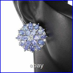 Unheated Oval Blue Tanzanite Cz White Gold Plate 925 Sterling Silver Earrings