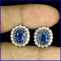 Unheated Oval Kyanite 9x7mm Cz White Gold Plate 925 Sterling Silver Earrings