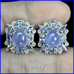 Unheated Oval Tanzanite 10x8mm Cz White Gold Plate 925 Sterling Silver Earrings