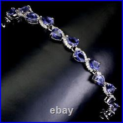 Unheated Pear Blue Iolite 6x4mm Cz White Gold Plate 925 Sterling Silver Bracelet