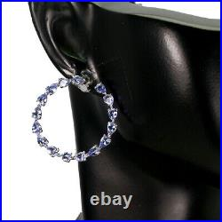 Unheated Pear Blue Tanzanite 4x3mm White Gold Plate 925 Sterling Silver Earrings