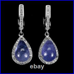 Unheated Pear Tanzanite 12x8mm Cz White Gold Plate 925 Sterling Silver Earrings