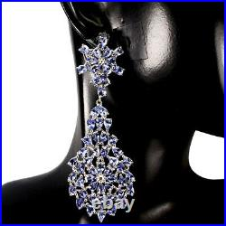 Unheated Pear Tanzanite 4x3mm White Gold Plate 925 Sterling Silver Big Earrings
