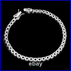Unheated Round Blue Iolite 3mm 14K White Gold Plate 925 Sterling Silver Bracelet
