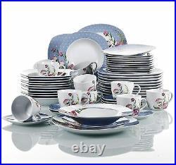 VEWEET Hannah 60x Dinner Set Flower Pattern Kitchen Porcelain Dessert Soup Plate