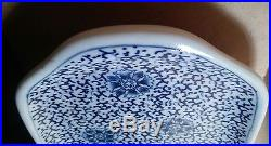 VINTAGE Antique Chinese BLUE and WHITE plate, 13 x 6.25