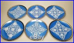Venetian Merletto White Lace Blue Tea Demitasse Cup Saucer & Plate Set Vintage