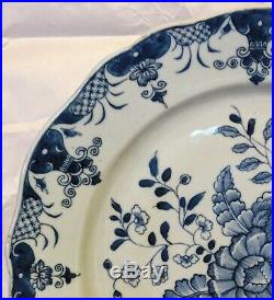 Very Fine Chinese 18th c. Blue White Porcealin Charger Plate Pomegranate Florals