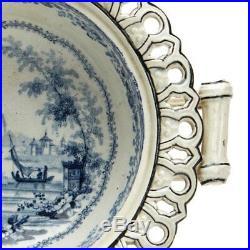 Very Rare Antique Ruins Blue & White Pedestal Bowl C. 1800