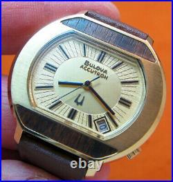 Very Rare Serviced Accutron 2181 Bulova Gold Plate Tuning Fork Men's Watch N3