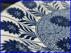 Very rare Antique Blue&White Minton China Aster Floral Footed Plate 19th century