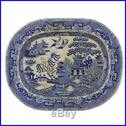 Victorian Staffordshire Stoneware Blue White Willow Pattern Plate F Winkle & Co