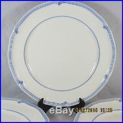 Villeroy Boch Casa Azul Modesto Dinner Plates set 4 white blue lined rim scallop