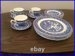 Vintage17 Pieces Set Myott old Willow Blue Willow pattern Plate England
