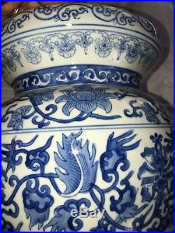 Vintage Antique Blue White Canton Chinese China 20th Century Garden Seat