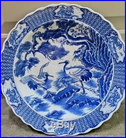 Vintage Blue & White Hand Painted Cranes Plate