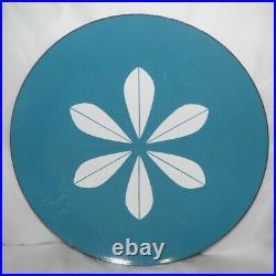 Vintage CATHRINEHOLM Norway Teal Blue & White 12 LOTUS Enamelware CHARGER Plate