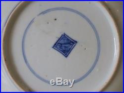 Vintage Chinese Blue And White Plate With Mark Inside Double Circle