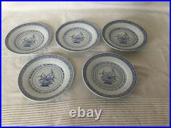 Vintage Chinese Blue & White Porcelain Dinner Bowl & Plate Set For 5(24pieces)