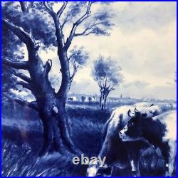 Vintage Delft Porceleyne Fles Blue White Grazing Cow Charger Plate After Vrolijk