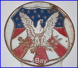 Vintage Eagle Red White Blue License Plate Topper, Fox Company Cincinnati Ohio