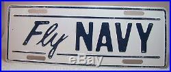 Vintage Fly Navy Vanity License Plate metal embossed white blue topper sign