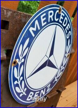 Vintage Mercedes Benz Porcelain Sign Gas Motor Oil Station Pump Plate Ad Rare