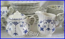 Vintage Myott Finlandia Blue White 41 pc Dinnerware Set Plates Bowls Cups Saucer