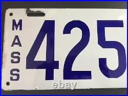 Vintage Porcelain License Plate White & Blue 1914. RARE from MASS VG+ Auto Tag