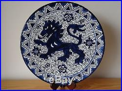 Vintage Spain Spanish Blue and White Lion Hand Painted Faience Majolica Plate