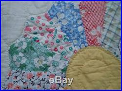 Vintage Sweet c1930 LARGE Blue & White Dresden Plate QUILT 96x82