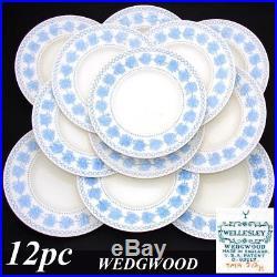 Vintage Wedgwood 12pc 9.5 Dinner Plate Set, 1934 Wellesley Blue & White Pattern