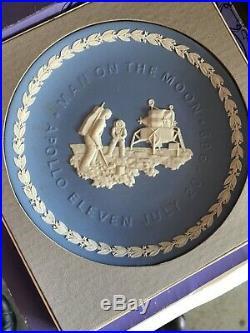 Vintage Wedgwood Blue & White Plate 1969 Apollo 11 Man On The Moon