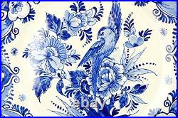 Vintage pair blue and white handpainted Dutch Delft wall plates birds 25cm /10in