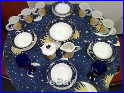 Vitromaster Galaxy Sun Moon Stars Blue/white Set Plates And Bowls And Saucers