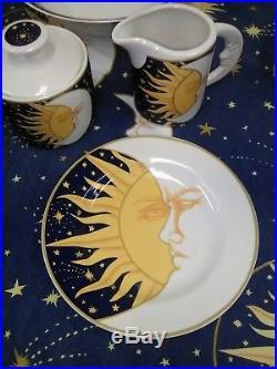 Vitromaster Galaxy Sun Moon Stars Blue/white Set Plates Bowls Saucers (co86)