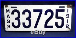 Vtg Antique 1912 Porcelain Mass Massachusetts License Plate Blue + White Nice